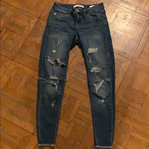 Ankle length jeans! RIPPED!!! Size 24.
